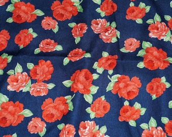 Ditzy Rose  Imported Japanese Crepe Fabric Novelty  By the Yard