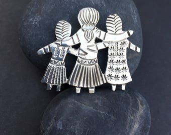 Girl Pin Native American Solid Sterling Silver