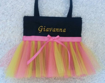 Flower Girl Tutu Bag, Pink and Yellow Tulle, Colorful Tutu Bag, Free Embroidery!