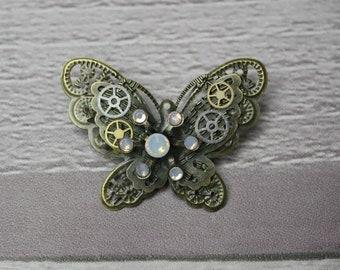 Opal Steampunk Butterfly Brooch, Steampunk Brooch, Steampunk Pin, Butterfly Pin, Butterfly Jewellery, Steampunk Jewellery