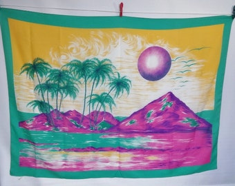 "Vintage Large shawl / wall hanging Tropical beach 108cm x 144cm / 42.5"" x 56.6"""
