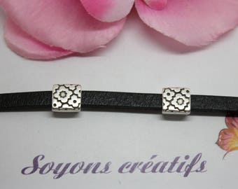 1 square flower bead from silver high quality European 9 mm