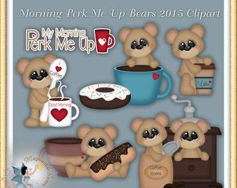 Coffee Clipart, Donut, Teddy Bear, Morning Perk Me Up Bears 2015