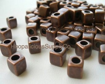 25 Cubed Spacer Beads -Copper Colored Acrylic- - FAST Shipping from USA with Tracking Number