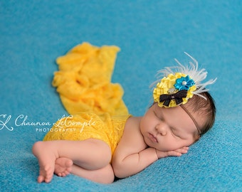 Yellow Stretch Lace Wrap Newborn Photography Prop Baby Swaddle