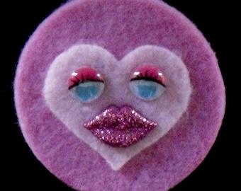 Two-Tone Pink Sweet Heart Brooch  (Funky Felt Flowers)