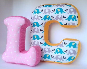 Initial letter C pillow - Personalized pillow - Pink letter L - Nursery decor - Baby name sign - Fabric letter - Shelf Decor - Elephant
