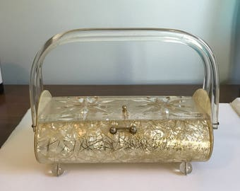 Vintage Gilli New York Lucite purse from 1950s, beautiful carved lucite with gold confetti