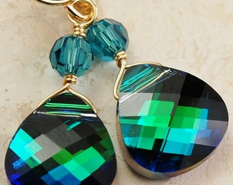 Peacock Earrings, Swarovski Crystal Briolette, Emerald Flash, Indicolite Teal, 14K Gold Filled Wire Wrapped, Bridesmaids
