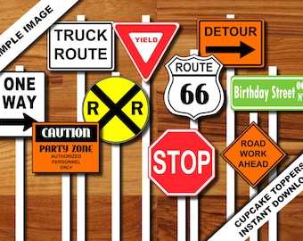 Transportation Construction PRINTABLE Road Sign Cupcake Toppers - Plane Train Automobile Truck INSTANT DOWNLOAD Stop Yield Railroad One Way