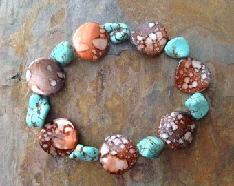 Turquoise nugget gemstone and patterned beaded stretch bracelet