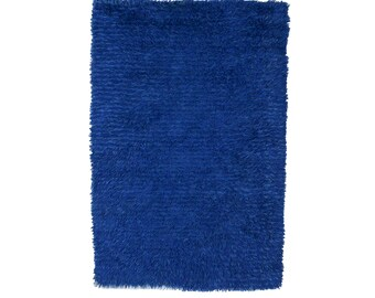Vintage Danish Rya Shag Rug Blur Rug Wool Mid Century Modern