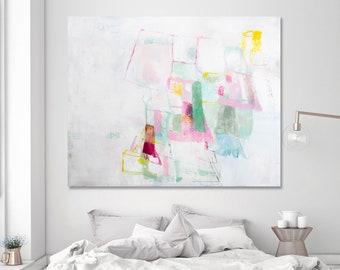 Abstrakte Malerei, original-Artworks, extra große Wandkunst, große Leinwand Kunst, Weiß-Malerei, Traumhaus Malerei 48 x 40 Hochzeitsgeschenk