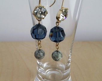 Blue Faceted Glass Beads with Rhinestone Earrings