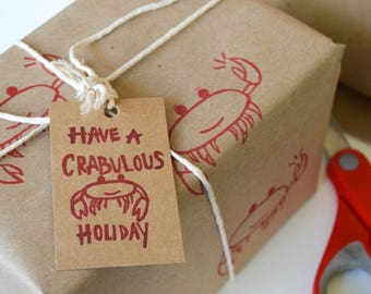 Holiday Stamp- Crab Stamp- Vacation Stamp- Xmas Card -DIY- Christmas Gift Tags- Hanukkah Gift Tags- Hand Carved & Mounted on Reclaimed Wood