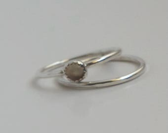 Rose Quartz and Sterling Silver stacker rings size 5