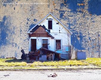 Street Cat , Photo Montage, Wall Art, Fine Art Print, Abandoned House, Urban Decay, Street Photography, Detroit