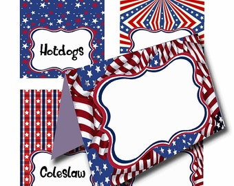 Patriotic Place Cards, Name Cards, Tent Cards, 4 July, Fourth of July, party, party supplies
