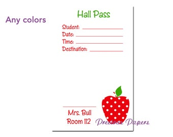 Personalized teachers hall pass notepad  hall pass notes hall pass for school