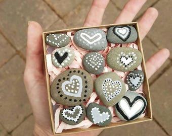 Hand Painted Heart Rocks From Santa Barbara