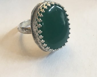 Sterling silver green onyx ring