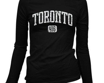 Women's Toronto 416 Long Sleeve Tee - S M L XL 2x - Ladies' Toronto T-shirt, T Dot, Ontario, Canada - 2 Colors