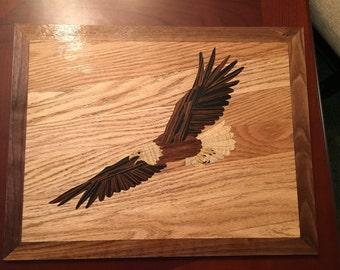 Flying Bald Eagle Marquetry Wood Art 18 x 14