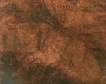 """Uncharted """"Big Sur"""" etching with chine colle, monoprint with chine colle, map monoprint, one-of-a-kind etching"""