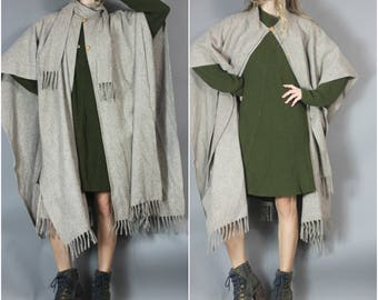 Vintage Neutral Cape with Attached Scarf Fringe Beige Oatmeal Bohemian Minimalist
