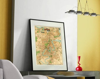 """Brisbane map - Old map of Brisbane print - Old city map restored- Large map of Brisbane - up to 30 x 40.5"""""""