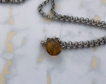 Whiskey Quartz on Silver chain
