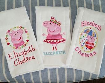 Monogrammed Peppa Pig Inspired Burp Cloths!