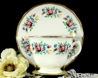 English Bone China, Vintage Teacup, Tea Cup and Saucer, Royal Malvern, Teacup Set 12854
