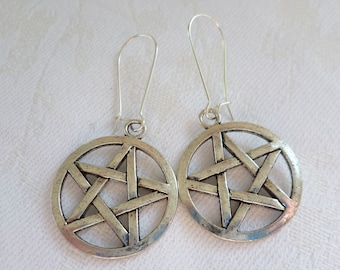 Pentagram earrings, pentacle earrings,wiccan jewellery,pentagram jewelry,pagan jewelry,handmade,gift,silver pentagram,pentacle,wicca