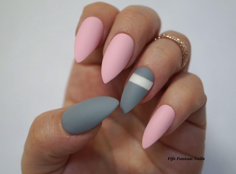 Grau Stiletto Nägel rosa Stiletto Nägel künstliche Nägel
