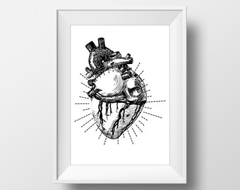 Anatomical Heart Print, Vintage Wall Art, Anatomical Heart, Printable Art, Instant Download
