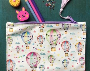 Pencil zipper bag, cute desk accessory, hot air balloon nursery, Cosmetic bag, Toiletry bag, Pencil case, Pencil pouch, Zipper pouch,