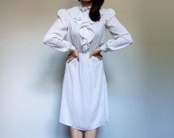 Vintage White Dress 70s Secretary Dress Long Sleeve Striped Dress Sheer Summer Dress 1970s Dress Rainbow Dress - Medium to Large M L