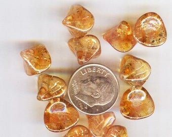 Three Petal Czech Glass Bead Sunshine Dust Orange Sparkle Flower 12x10mm 12 pc