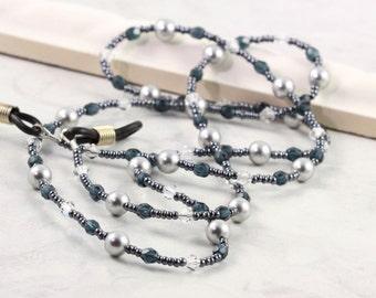 Gray Eyeglass Holder Blue Beaded Lanyard Office Fashion Pearl Sunglass Leash Crystal Eyeglass Chain Gray Pearl Eyeglass Necklace