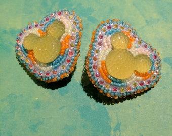 Handmade Mouse Earrings Chartreuse Green Beaded