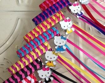 Retro Ribbon Barrette with Cute Kitty Charm