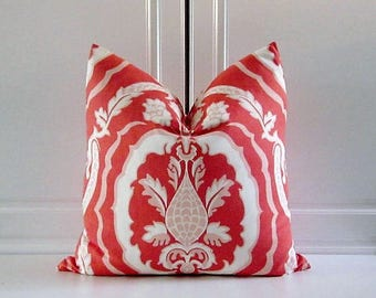 "Duralee Decorative Pillow Cover-Tobi Fairley'""Kathryn""-Coral- 18x18,20x20,22x22"