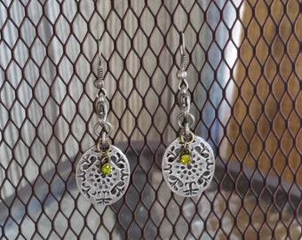 Gun Metal Grey earrings with Green Gemstone