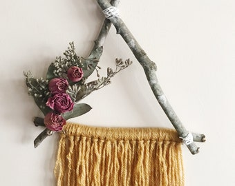 Mustard Triangle Dream Catcher, Boho Wall Hanging, Floral Wall Hanging, Boho Dream Catcher, Macrame Wall Hanging