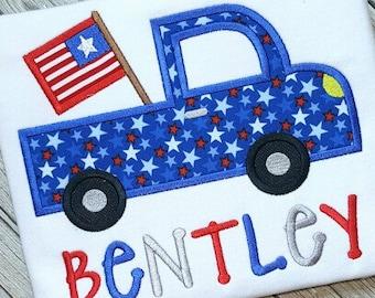 Truck Applique Design - Flag Applique Design - Patriotic Applique Design - Fourth of July Applique Design - Truck Embroidery Design