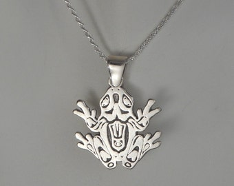 Sterling Silver Frog Necklace Frog Jewelry Made in Montana Mayan Tribal Jewelry Men's Frog Necklace Women's Frog Necklace Birthday Gift