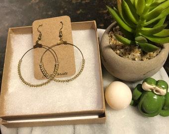 Clear gold bead bronze hoop earrings