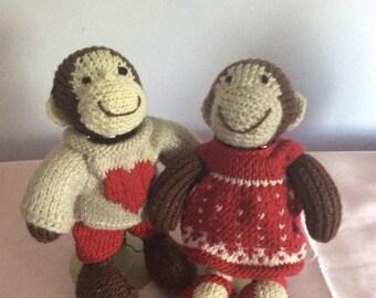Hand Knit Monkey Set, Ready to ship NOW!!