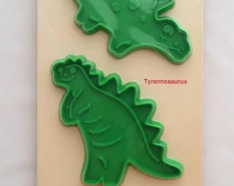 Dinosaur Cookie Cutters by Hutzler - 1991 Still in the Wrapper, #662 - Stegosaurus, Tyrannosaurus and Pterodactyl